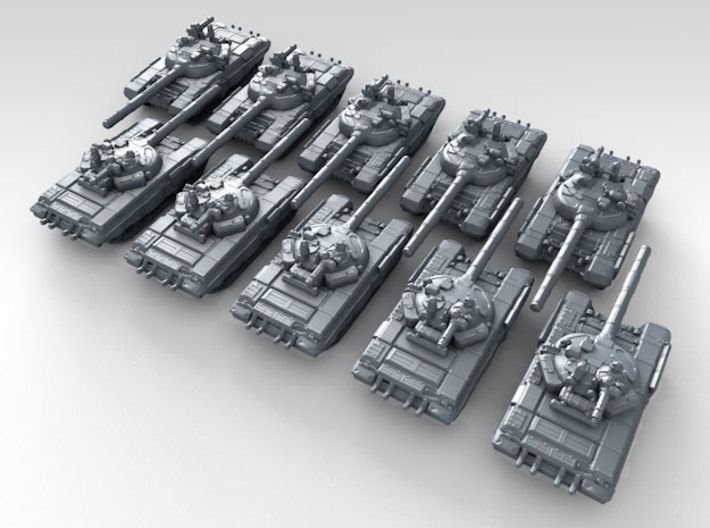 1/600 Russian T-72B3 Main Battle Tanks x10 3d printed 3d render showing product detail