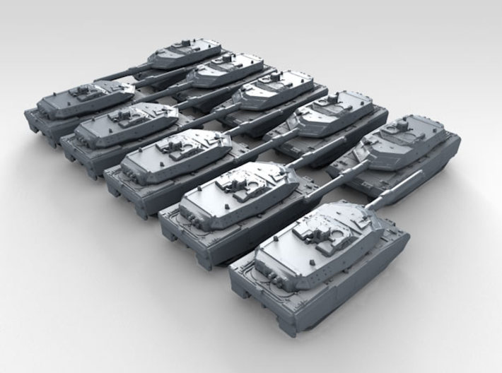1/600 German Leopard 2AX MBT x10 3d printed 3d render showing product detail