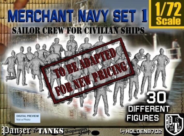 1/72 Merchant Navy Crew Set 1 3d printed