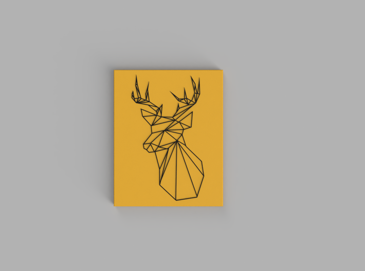 Stags Head Wall Art 3d printed Black, Yellow