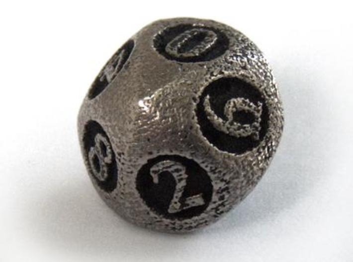 Overstuffed d10 3d printed In stainless steel and inked