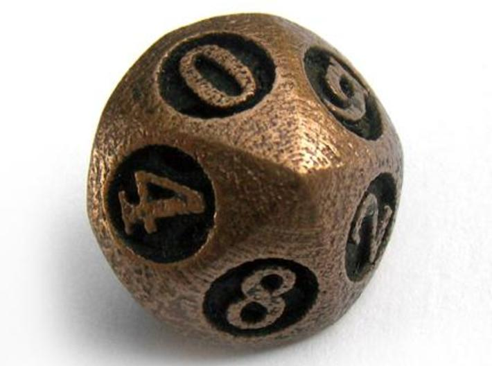 Overstuffed Die10 3d printed In antique bronze glossy and inked