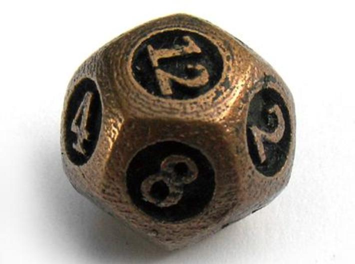 Overstuffed Die12 3d printed In antique bronze glossy and inked
