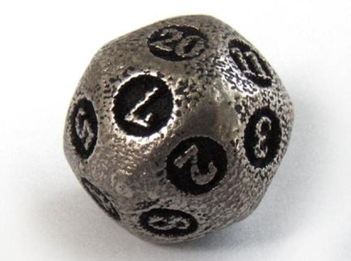 Overstuffed d20 3d printed In stainless steel and inked