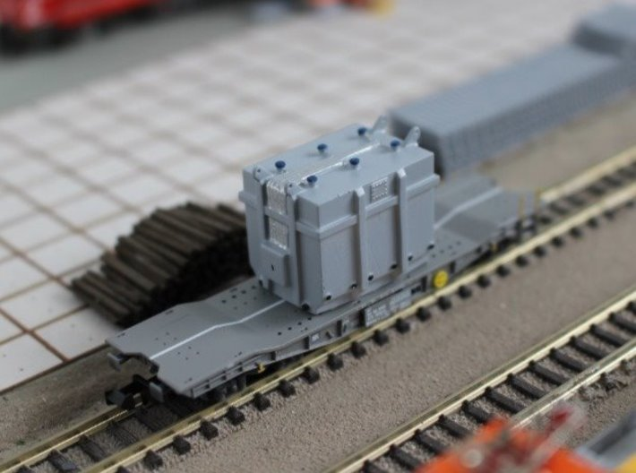 N Scale Transformer Load 3d printed Transformer ready for unloading (no tie-downs)