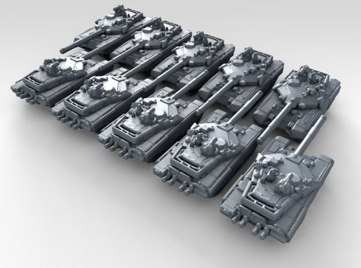 1/700 Russian T-90MS Main Battle Tank x10 3d printed 3d render showing product detail