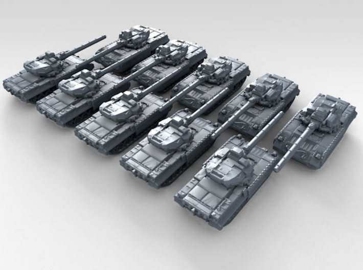 1/600 Russian T-95 Object 195 Main Battle Tank x10 3d printed 3d render showing product detail