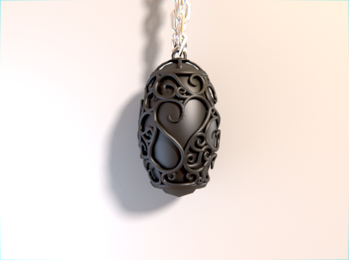Organic Pendant of Hearts 3d printed