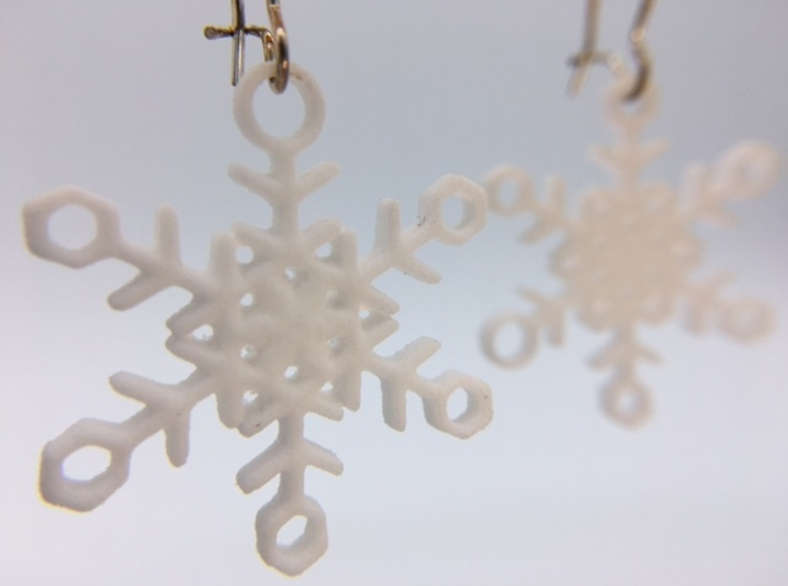 "Ice Snowflake Earrings 3d printed Pair of ""Ice"" Snowflake Earrings in White Strong & Flexible Polished"
