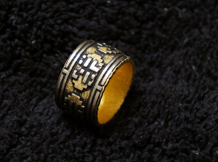 The Wanderer (Ring) 3d printed READ BELOW - Gold Glossy - Sanded Details - Black Paint Distressed