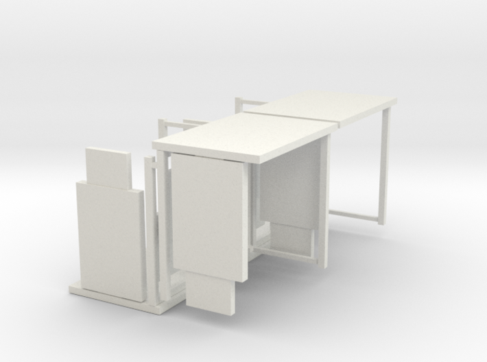 HO/1:87 Bus Shelter 4 pack 3d printed