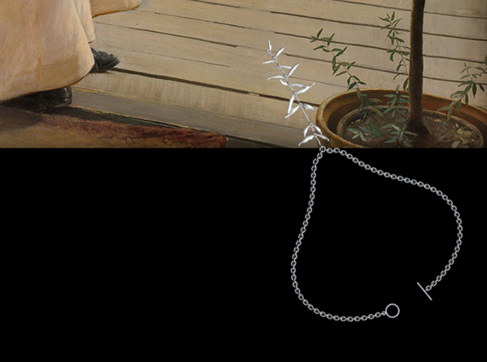 """""""At the French Windows"""" Necklace #1 3d printed Necklace beside foliage detail"""