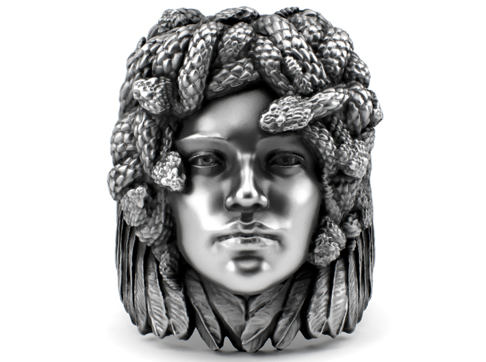 Medusa - Detailed ring 3d printed Aged silver option through my website https://shop.pj3dartist.com/collections/jewelry/products/medusa-detailed-ring