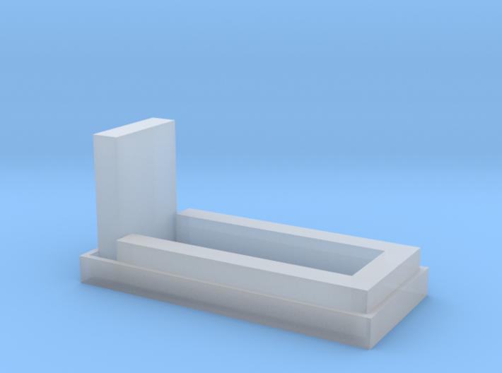 Grab mit Einfassung, Grabstein und Hecke 1:120 3d printed