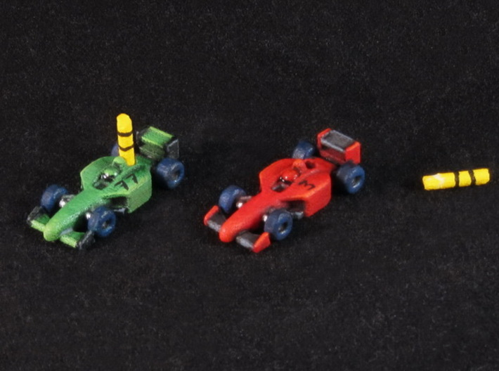 Miniature F1 (42pcs) - Hole variant 3d printed Hand-painted White Strong Flexible polished.
