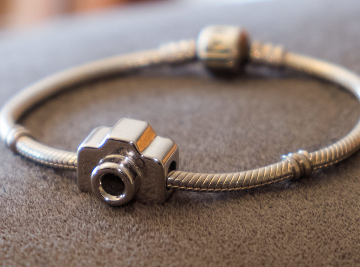 Mini DSLR Camera for your Bracelet - Charm 3d printed Rhodium Plated