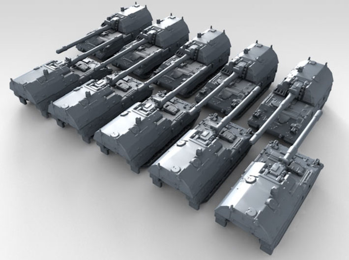 1/600 German Panzerhaubitze 2000 SPG x10 3d printed 3d render showing product detail