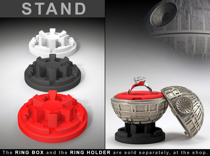 "STAND - To the ""Death Star Ring Box"" 3d printed Ring Box and Ring Holder, sold separately at the Shop. Ring not included."