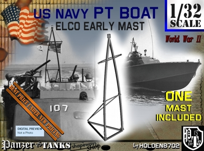 1-32 Elco PT Boat Early Mast 3d printed