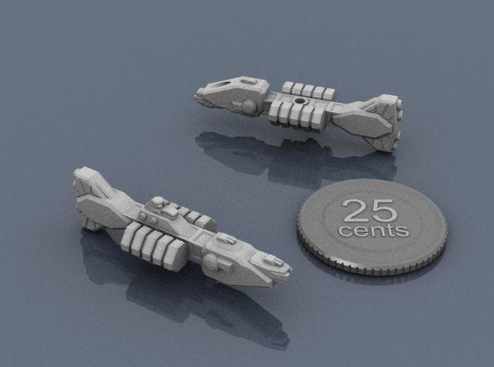 Union Destroyer 3d printed Renders of the model, with a virtual quarter for scale.