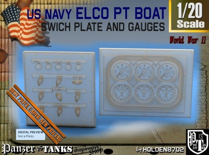 1-20 PT Boat Swich Plate And Gauges 3d printed