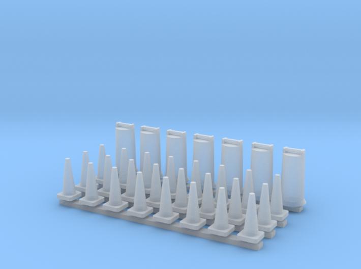 'N Scale' - Road Construction Cones & Barrels 3d printed