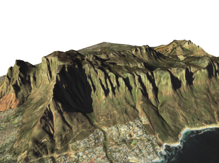 """Table Mountain Map: 8.5""""x11"""" Landscape 3d printed"""