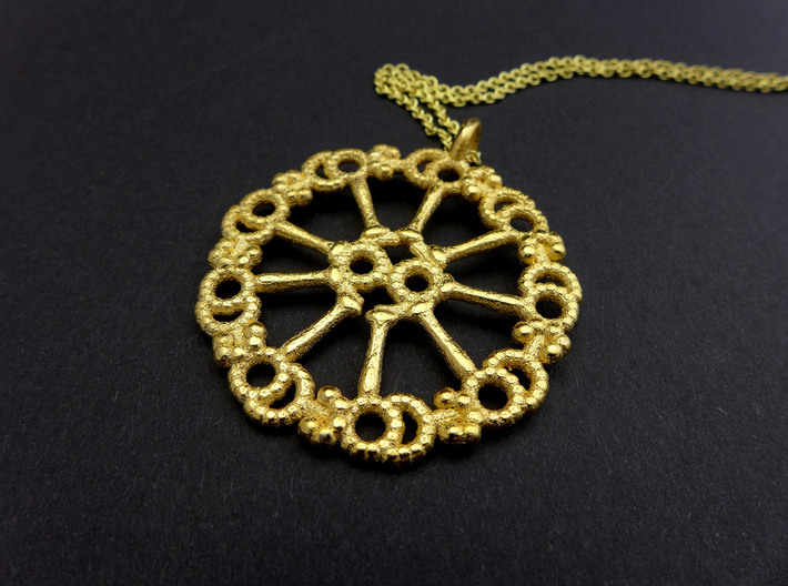 Axoneme Pendant - Science Jewelry 3d printed Axoneme pendant in polished gold steel