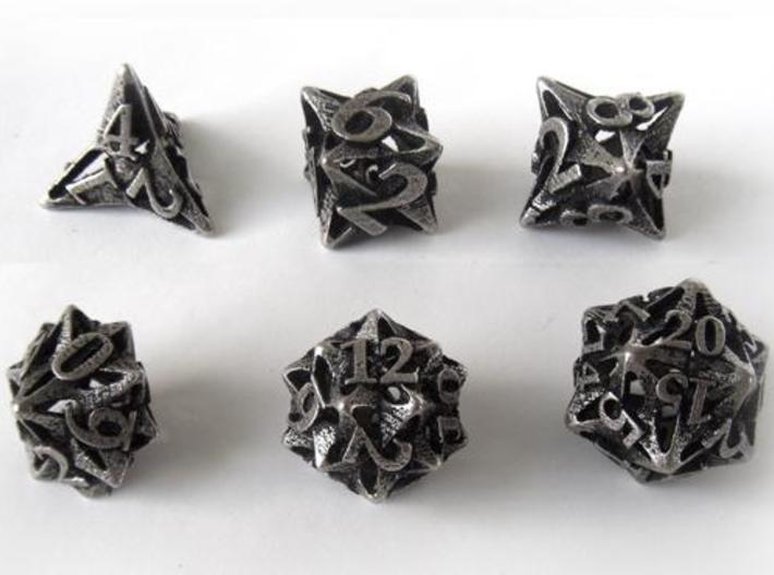 Pinwheel Dice Set 3d printed In stainless steel and inked