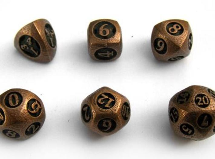 Overstuffed Dice Set 3d printed In antique bronze glossy and inked