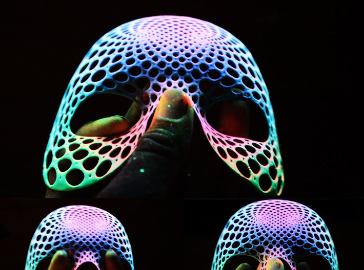 Skulladelic 3d printed Skulladelic painted with UV reactive paints, shown without UV lighting