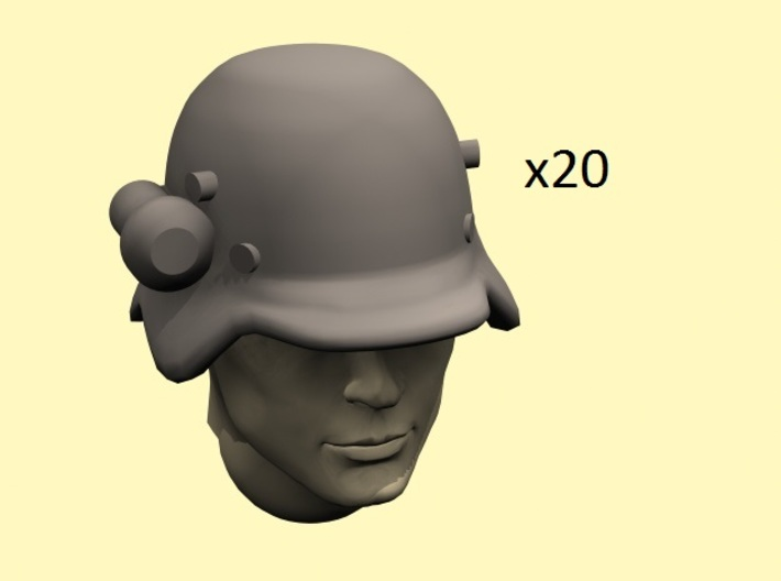 28mm early German helmets with flashlight 3d printed head not included