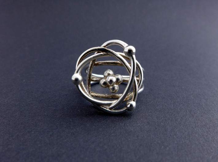 Atomic Model Ring - Science Jewelry 3d printed Protons, Neutrons, Electrons ring in polished silver