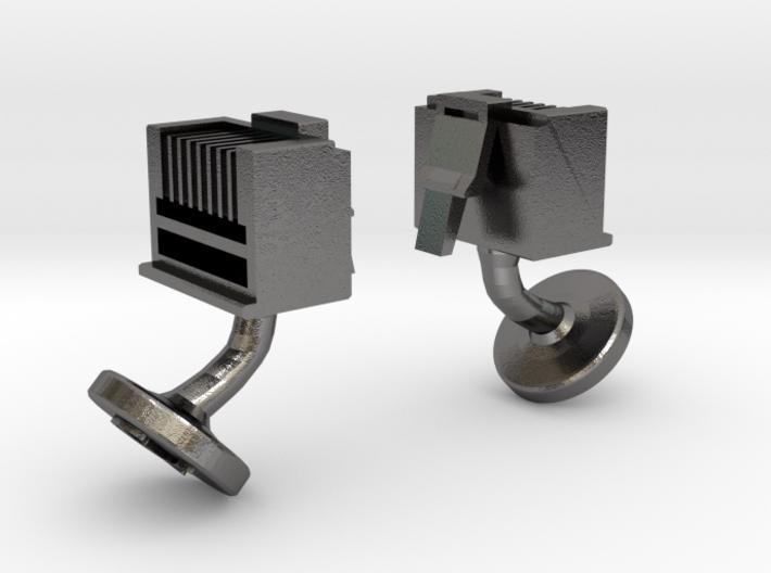 RJ45 Ethernet Cufflinks 3d printed