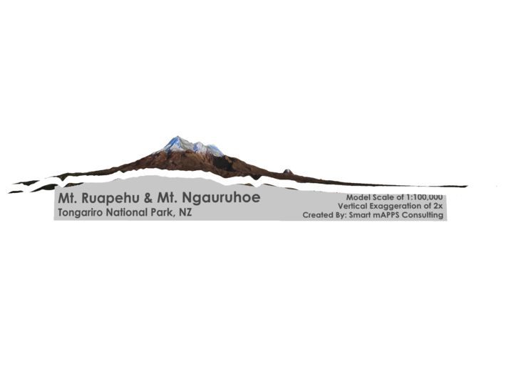 "Mt Ngauruhoe & Mt Ruapehu Map - 8""x10"" 3d printed"