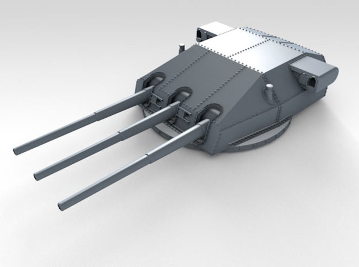 "1/570 DKM Gneisenau Turrets 28cm (11"") 1942 3d printed Render showing Bruno  turret detail"