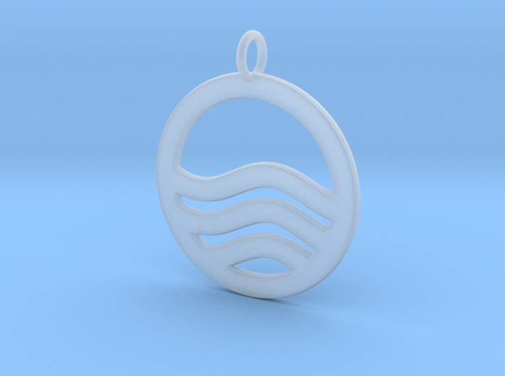 Sea Ocean Waves Symbol Pendant Charm 3d printed