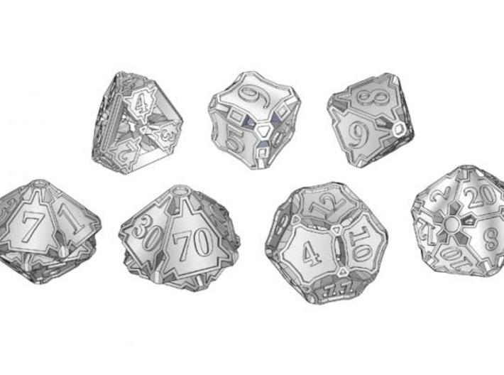 Large Premier Dice Set with Decader 3d printed