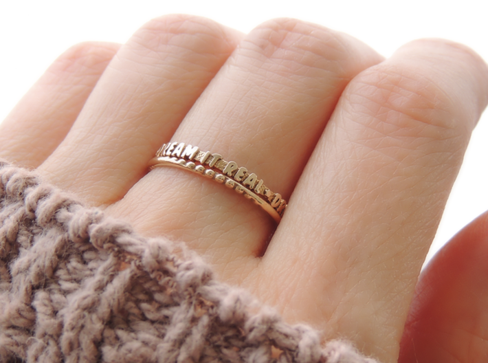 Dream It Real Ring (Multiple Sizes) 3d printed 'Dream It Real' and Tri-twist Bead Ring in Polished Bronze