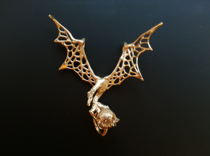 LUX DRACONIS 001 Pendant  3d printed LUX DRACONIS dragon pendant in raw brass