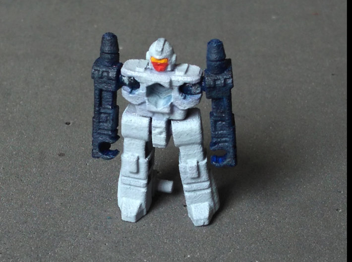 """MicroSlinger """"Uproar"""" 3d printed Uproar robot mode, front view. Painted with acrylics."""