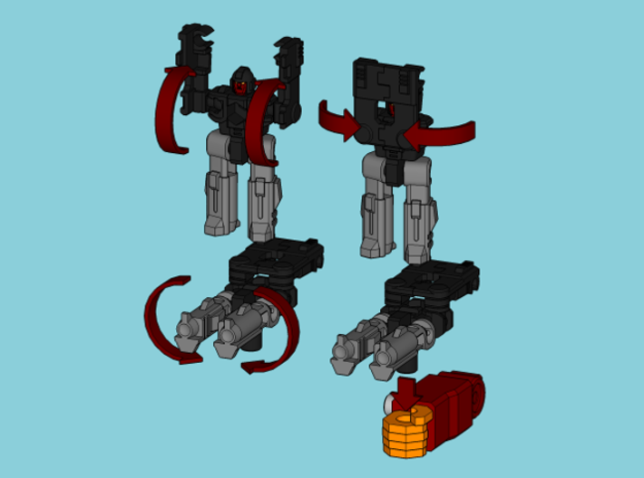 """MicroSlinger """"Flarestorm"""" 3d printed Convert from robot mode into weapon with 5mm post handle."""