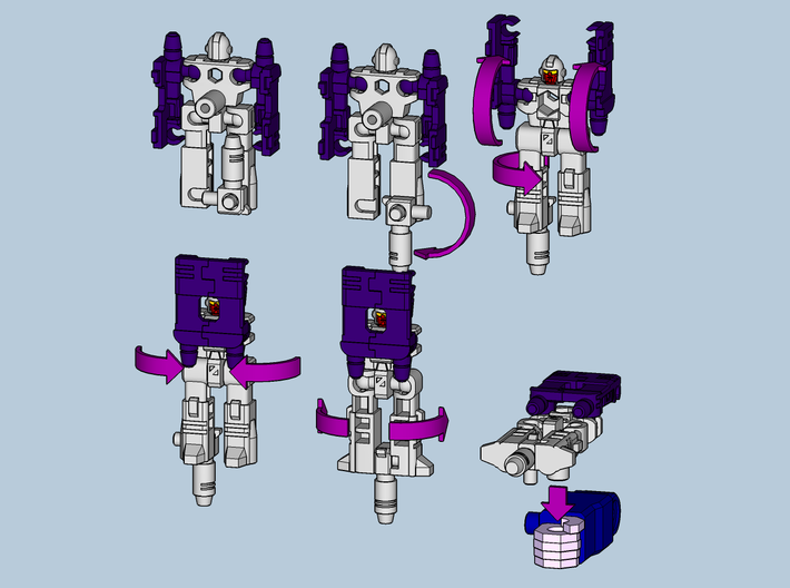 """MicroSlinger """"Uproar"""" 3d printed Convert from robot mode into weapon with 5mm post handle."""