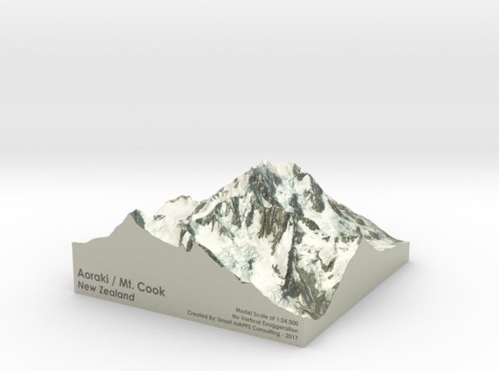 """Aoraki / Mount Cook Map, New Zealand: 9"""" 3d printed"""