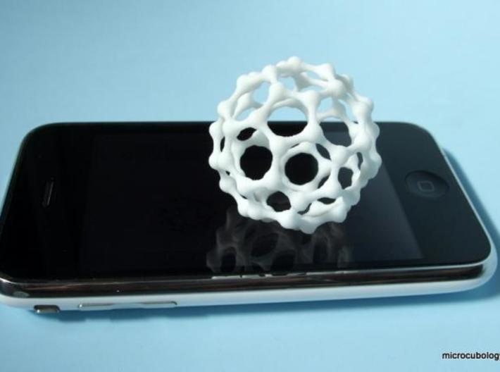 Thin MetaBuckyBall 3d printed White, Strong and Flexible