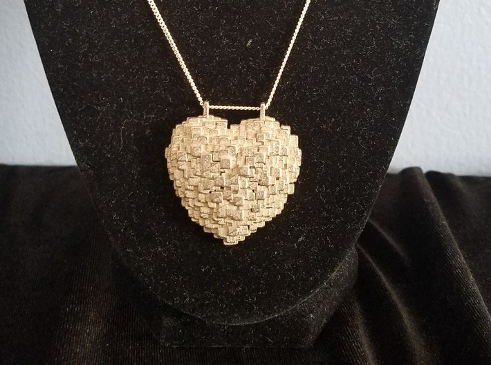 Pixelated Heart 3d printed Stainless Steel