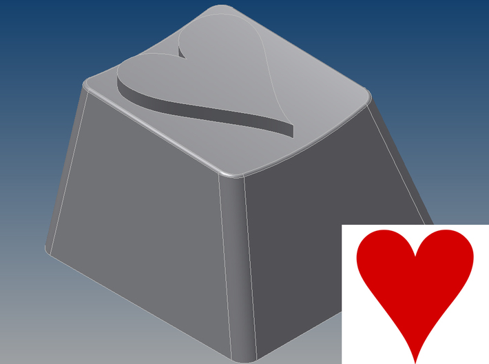 Heart Keycap (R4, 1x1) 3d printed