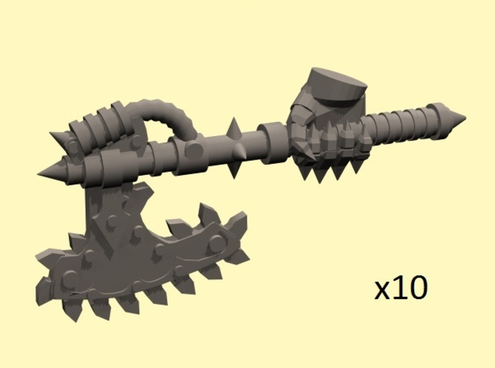 28mm Chain axe with evil hand (right) 3d printed