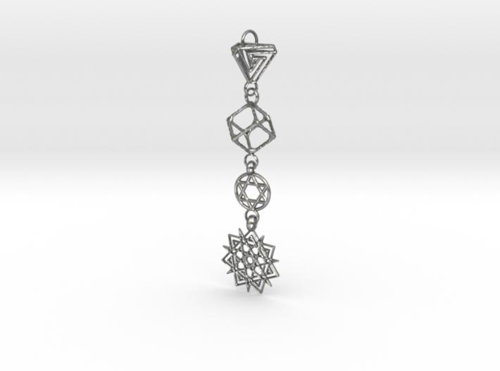 Interlocking 4 Symbols Pendant 3d printed