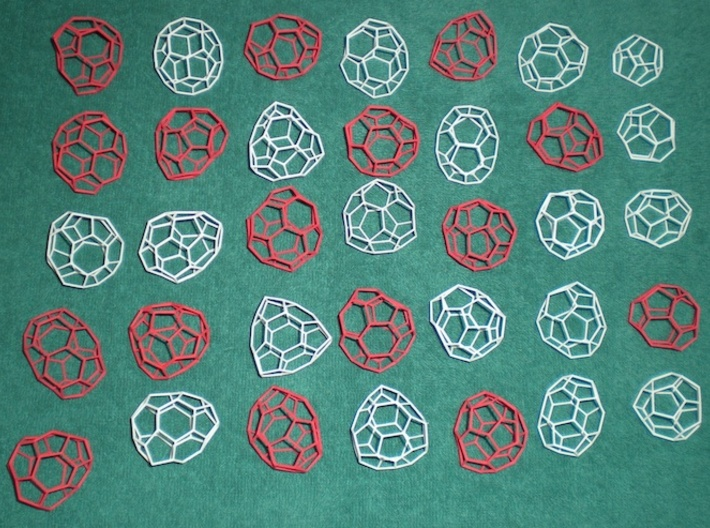 16 small chiral fullerenes (blue) 3d printed This model comprises the mirror images of the red pieces shown here.
